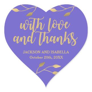 Custom Modern Purple and Gold Thank You Wedding Heart Sticker
