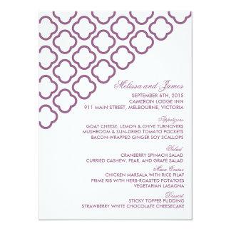 Custom modern quatrefoil wedding menu card