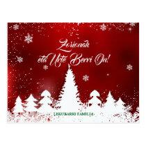 Custom, modern red Basque Navidad Christmas design Postcard