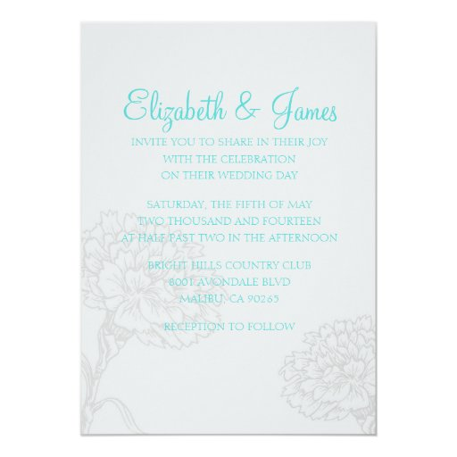 Custom Modern Teal And Silver Wedding Invitations