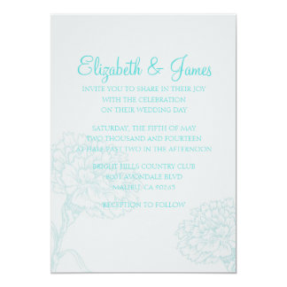 Custom Modern Teal Wedding Invitations