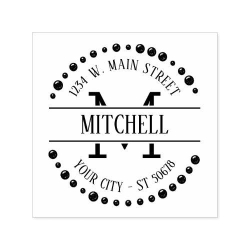 Custom Modern Trendy Chic Art Deco Circle Motif Self_inking Stamp
