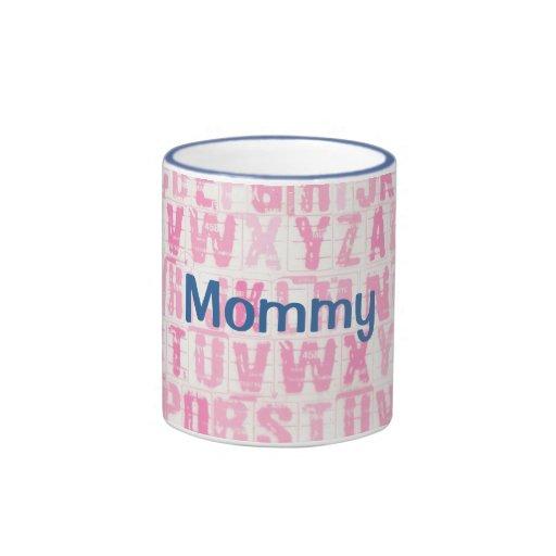 Custom Mommy Pink and Blue Alphabet  Mug Cup