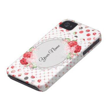 Custom Mongram Rose polkadot fun Case-Mate iPhone 4 Case