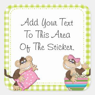 Custom Monkey Slumber Party Stickers