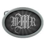 Custom Monogram 3 Initial Belt Buckle, Black/White