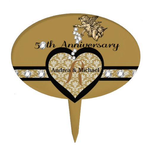 Cake Toppers Th Anniversary Monogram