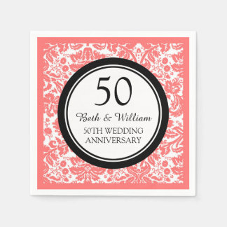 Custom Monogram 50th Anniversary Napkin Coral Paper Napkin
