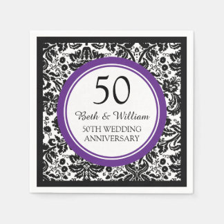 Custom Monogram 50th Anniversary Napkin Purple Disposable Napkins