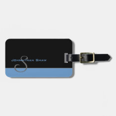 Custom Monogram 5 (blue) Bag Tag at Zazzle