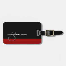 Custom Monogram 5 (red) Bag Tag at Zazzle