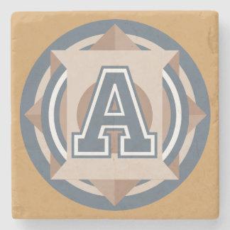 "Custom Monogram ""A"" Initial Stone Coaster"