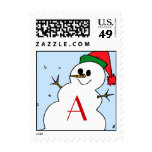 Custom Monogram A Snowman Postage Stamp