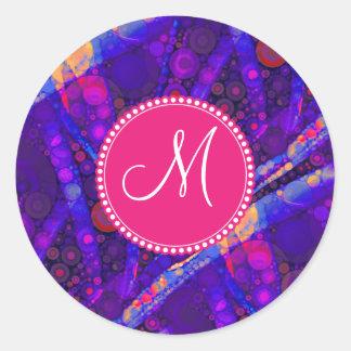 Custom Monogram Abstract Circles Mosaic Classic Round Sticker