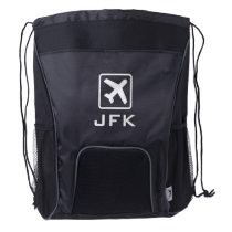 Custom monogram airplane icon drawstring backpack
