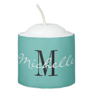 Custom monogram and color round wax votive candle