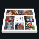 """Custom monogram and family color photo collage canvas print<br><div class=""""desc"""">Unique canvas with your family photos and monogram. At the center of the family photo collage is the monogram in black and all is on a white background. This would make a lovely family photo gift with your own photos from your pc or Instagram. Want a different background color ?...</div>"""