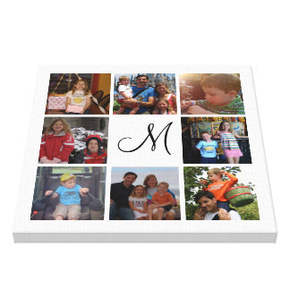 Custom monogram and family color photo collage canvas print