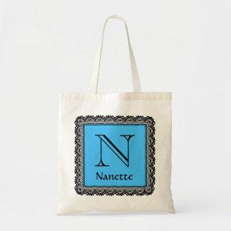Custom Monogram and Name Blue and Black Lace V04 Tote Bag