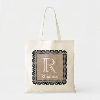 Custom Monogram and Name Burlap and Black Lace V07 Tote Bag