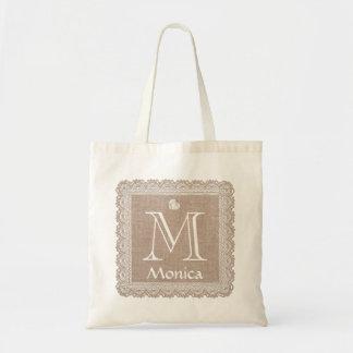Custom Monogram and Name Burlap Lace V02E Tote Bag