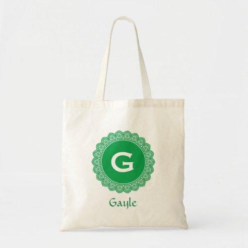 Custom Monogram and Name KELLY GREEN Lace V30 Tote Bag