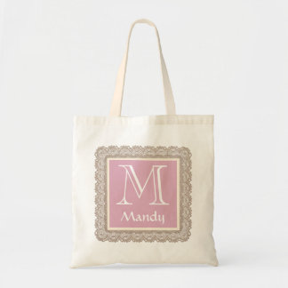 Custom Monogram and Name Pink and Burlap Lace V03F Tote Bag