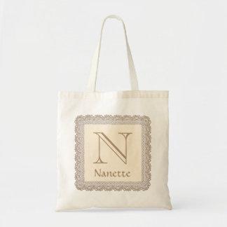 Custom Monogram and Name Tan and Cream Lace V03 Tote Bag