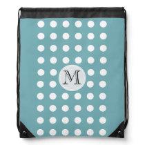 Custom Monogram and Polka Dots Aquamarine A02 Drawstring Backpack