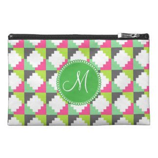 Custom Monogram Aztec Andes Tribal Block Pattern Travel Accessory Bags