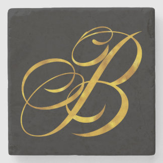 Custom Monogram B Faux Gold Foil Monograms Initial Stone Coaster