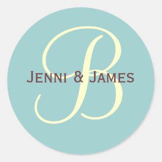 Custom Monogram B Wedding Favor & Envelope Sticker
