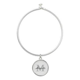 Custom monogram bangle bracelet with round charm
