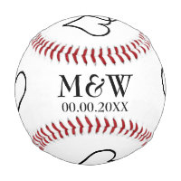 Custom monogram baseball for sports theme wedding