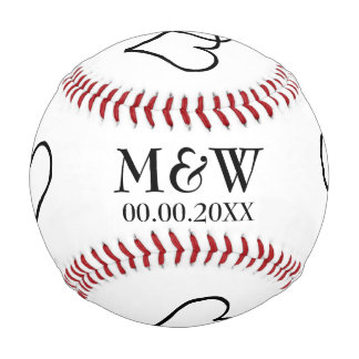 Custom monogram baseball for sports theme wedding