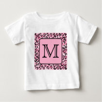 Custom Monogram. Black and Pink Leopard Print. Baby T-Shirt