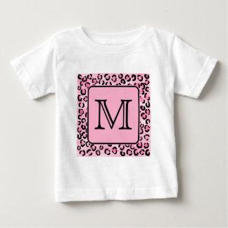 Custom Monogram. Black and Pink Leopard Print. Baby T-Shirt