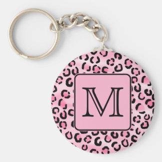 Custom Monogram. Black and Pink Leopard Print. Basic Round Button Keychain