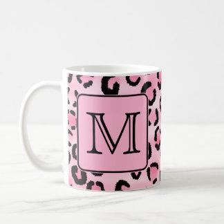 Custom Monogram. Black and Pink Leopard Print. Coffee Mug