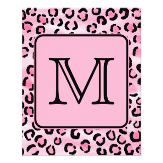 Custom Monogram. Black and Pink Leopard Print. Flyer Design