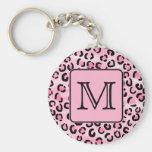 Custom Monogram. Black and Pink Leopard Print. Key Chain