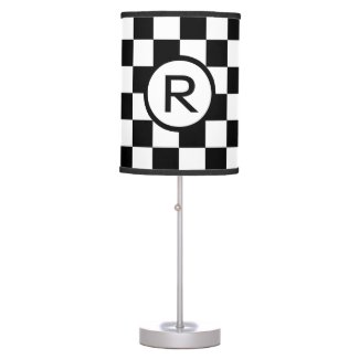 Custom Monogram Black and White Checkered Pattern Desk Lamp