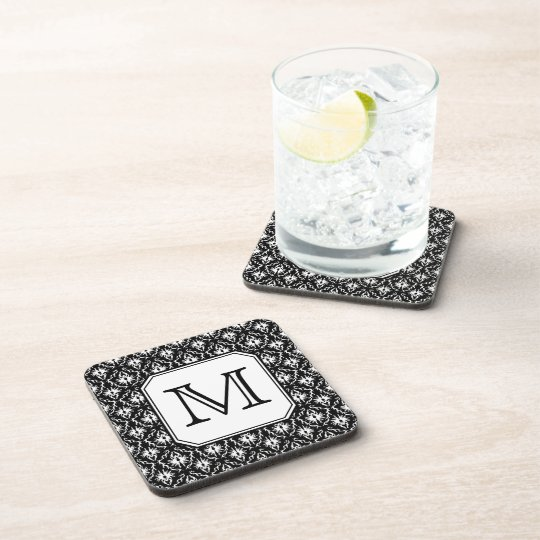 Custom Monogram. Black and White Damask Pattern. Coaster