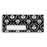 Custom Monogram. Black and White Damask Pattern. Envelope