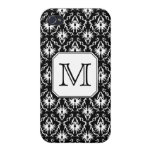 Custom Monogram. Black and White Damask Pattern. iPhone 4 Cover
