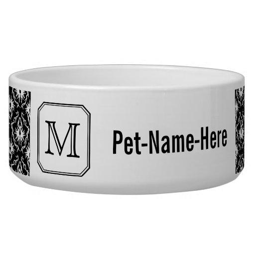 Custom Monogram. Black and White Damask Pattern. Pet Water Bowls