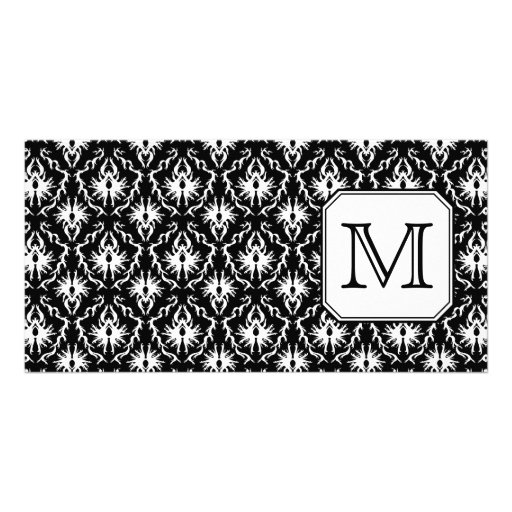 Custom Monogram. Black and White Damask Pattern. Picture Card