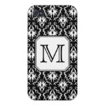 Custom Monogram. Black and White Damask Pern. iPhone 4 Cover