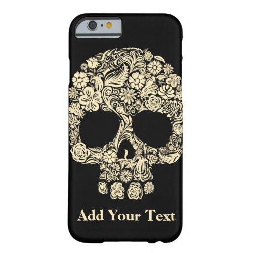 Custom Monogram Black and White Floral Sugar Skull Phone Case