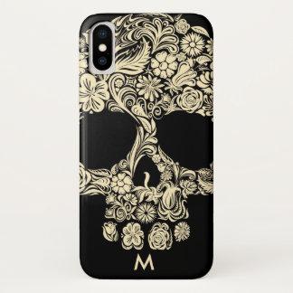 Custom Monogram Black and White Floral Sugar Skull iPhone X Case
